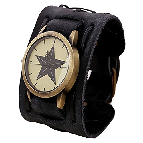 Punk Rock Retro Band (LANDFOX Retro Punk Rock Big Wide Leather Bracelet Cuff Star Watch Black)