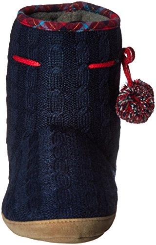 Isotoner Samantha Blue Cable Women's Boot Slipper Navy Knit rqgr5C