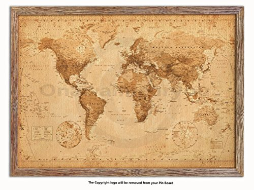 Laminated Posters Framed - Vintage Style World Map - Push Pin Memo Notice Board - Natural Driftwood Effect - Matt Finish - Measures 96.5 x 66 cms (38 x 26 Inches - Approx) ()