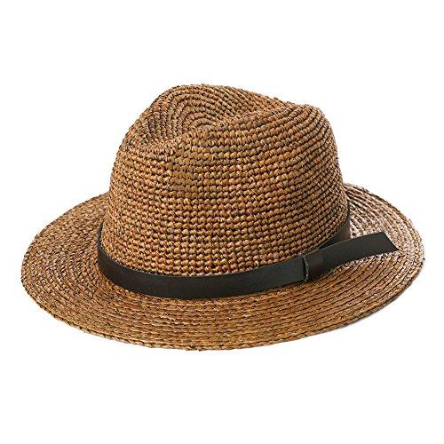 Jeff & Aimy Womens Summer Fedora Straw Trilby Beach Panama Derby Safari Sun Hat Crushable Havana Hat Adjustable Tan 56-60CM