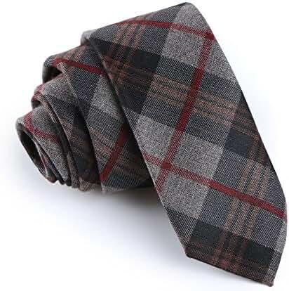Elviros Mens Eco-friendly Handmade Plaid Cashmere Wool Slim Tie 2.4'' ( 6cm )