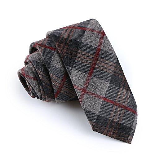 """Elviros Mens Eco-friendly Handmade Plaid Cashmere Wool Slim Tie 2.4"""" ( 6cm ) Tartan B"""