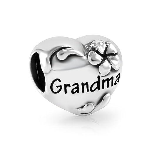5df672e53 925 Sterling Silver I Love You Grandma Flower Heart Bead Charm Fits Major  Brand Bracelet