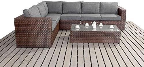 Moderno Grande sofás rinconera de jardín, 3 modular 2 plazas de mimbre con mesa de café con tapa de cristal, gruesa cojines de asiento, conjuntos de muebles de jardín, color marrón: Amazon.es:
