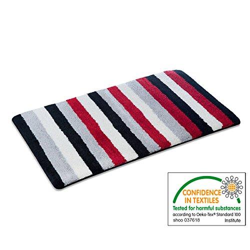 casa pura Bath Mat - Bath Rug Paul - Soft Pile, Non-Slip, Black, Grey & Red Stripes - 20