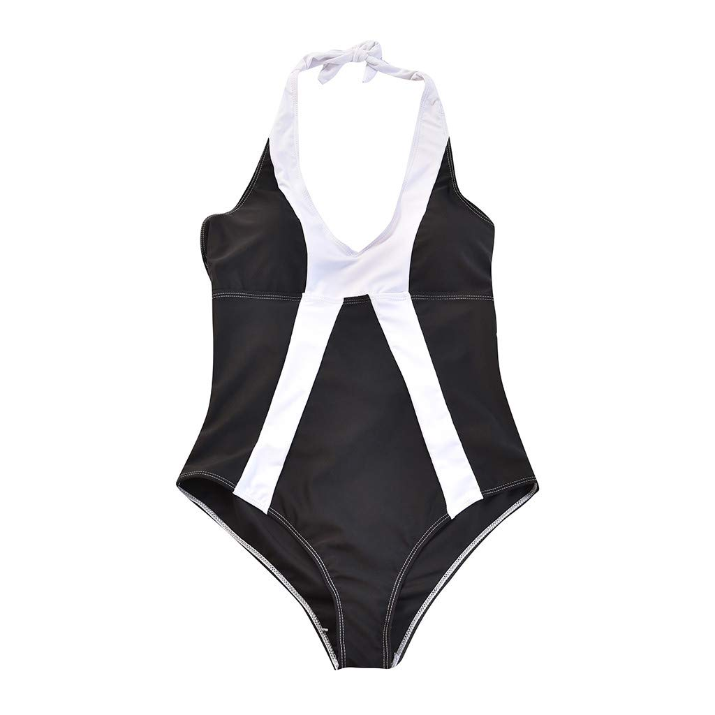 c65756182b8 Amazon.com: Cyswi Monokini Solid Black Swimsuits Mother and Daughter Halter Backless  Bathing Suit Print with White Stripe Set One Piece: Grocery & Gourmet ...