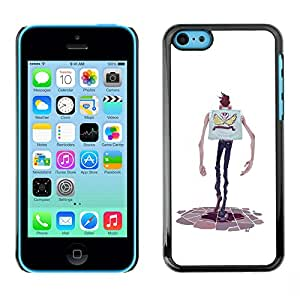 Shell-Star Arte & diseño plástico duro Fundas Cover Cubre Hard Case Cover para Apple iPhone 5C ( Cartoon Character Hands Skinny Man Skull )