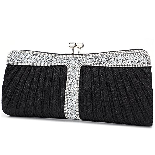 - Ladies Sparkling Rhinestone Wedding Evening Party Clutch Handbag Purse Chain Shoulder Crossbody Bag (Black)