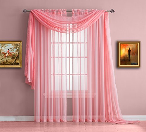 ir of Short Rose Pink Sheer Window Curtains. Each Voile Drape Is 56 X 63 Inches in Size. Great for Kitchen, Living Room or Kids Bedroom. 2 Fabric Panels Included. Color: Rose 63 (Fuchsia Glass Beads)