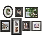 Gallery Perfect 7 Piece Bronze Photo Frame Wall Gallery Kit. Includes: Frames, Wall Template, Art Prints and Hanging Hardware