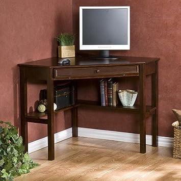 Amazoncom Karbach Corner Desk with Keyboard Tray Espresso