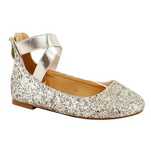Guilty Shoes Women's Classic Ballerina Flats - Elastic Crossing Straps - Comfort Stretchy Ballet-Flats, Silver Glitter, (Silver Glitter Ballet Flats)