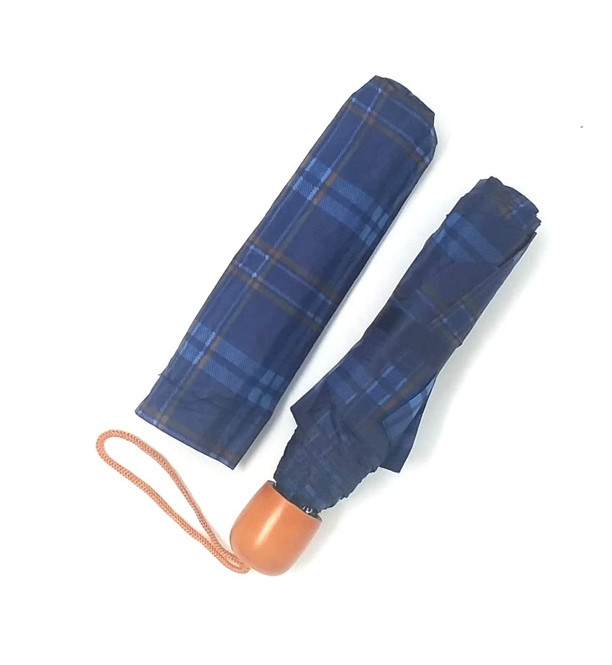 60 COMPACT Plaid Golf Umbrellas With Wooden Handle, Carry Strap & Storage Sleeve - MULTIPLE COLORS WHOLESALE BULK LOT