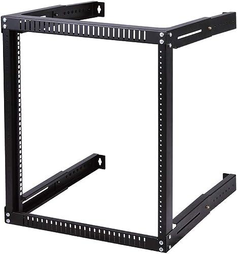 Kenuco 15U Adjustable Depth Wall Mount Open Frame Steel Network Equipment Rack 17.75 Inch Deep