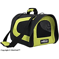 "EliteField Deluxe Soft Pet Carrier (3 Year Warranty, Airline Approved), Multiple Sizes and Colors Available (18"" L x 10"" W x 11"" H, Black+Lemon Green)"