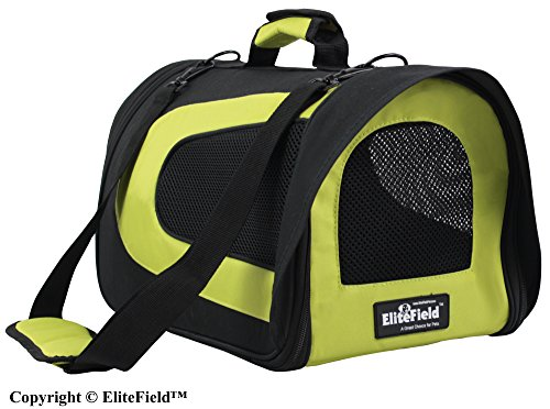 EliteField Deluxe Soft Pet Carrier (3 Year Warranty, Airline Approved), Multiple Sizes Colors Available (18″ L x 10″ W x 11″ H, Black+Lemon Green)