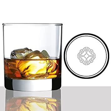 Scotch Whisky Glasses 10oz With Etched Celtic Symbol For Strength
