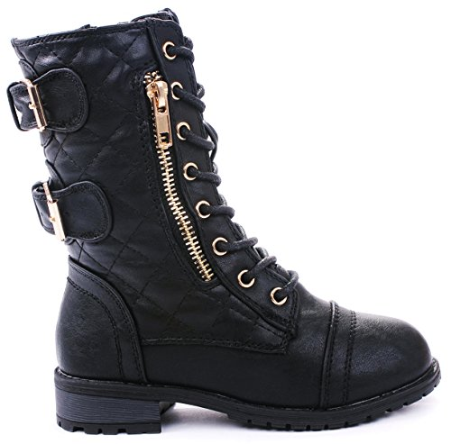 JJF Shoes Mango-79 Kids Black Combat Lace Up Quilted Dual Buckle Zip Decor Mid Calf Motorcycle Boots-9]()
