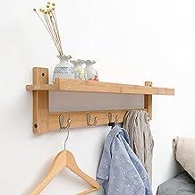 YunNasi Wall Shelf with 5-Hook Bamboo Rack for Bedroom Kitchen Bathroom Bamboo