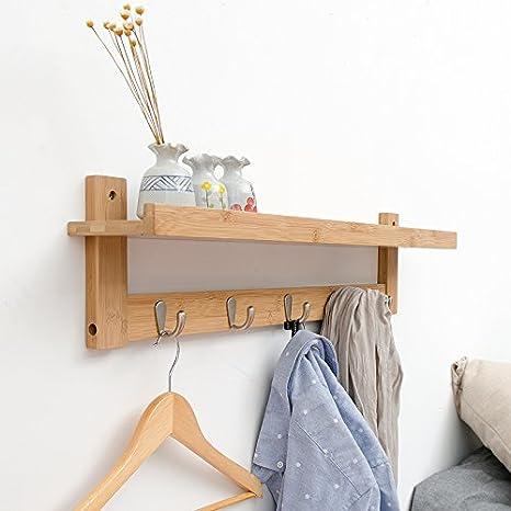 Amazon.com: yunnasi estante con bambú rack perchero de pared ...