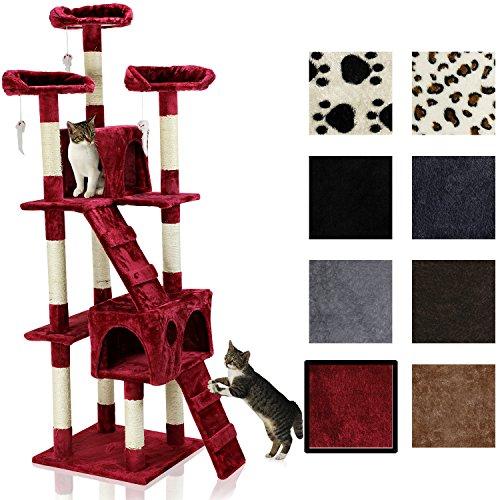 Katzen Kratzbaum ca. 170x75x65cm mit vielen Kuschel-und Spielmöglichkeiten rot KB-42