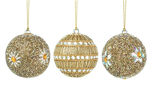 Golden Beaded Ball Ornament Trio (Beaded Trio)