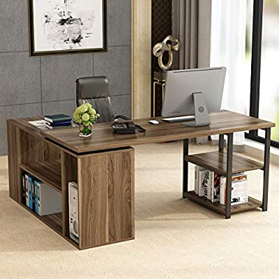 L-Shaped Computer Desk, Tribesigns Rotating Corner Computer Desk with Bookcase &File Cabinet, Reversible Study Writing Desk Table Workstation for Home Office - [360° Rotating Design& Space Saving] Be reversible, with 360° rotating parts, free to be changed, could be oriented in many different ways(go L-shaped&go straight) according personal preference. This L-Shaped Computer Desk maximally utilizes the space, suitable to any home office no matter big or small, very convenient and space saving! [Wide Desktop] 59''Lx23''W large surface is enough to hold two monitors, provides a plenty of space for laptop, desktop PC, printer, writing, study or any other home office activities. Meanwhile, as an extended workstation, the bookcase could offer extra spacious space for users by rotating. [Powerful Multifunctional Storage Unit] Coming with 2-tier open shelf and a large bookcase & file cabinet(including 3-tier small bookshelf, 2-tier open shelves and a CPU stand), with powerful storage space, this computer desk is economic, meets different storage need, lets all within reach for simple access , and makes your office neat and tidy. - writing-desks, living-room-furniture, living-room - 518Qon4ImXL. SS400  -