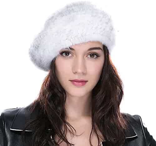 08fa8f018d239 URSFUR Women s Knitted Mink Fur Hat Betret Hat with Elastic Band Mutiple  Color