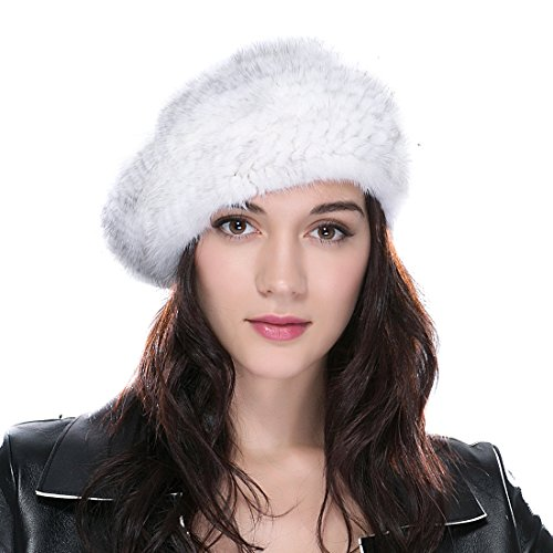 URSFUR Women's Knitted Mink Fur Hat Betret Hat with Elastic Band Cross Mink Natural Color