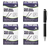Advantus Panel Wall Wire Hooks, Silver, 25 Hooks per Pack, Sold As 4 Packs (75370) - Bundle Includes Plexon Ballpoint Pen