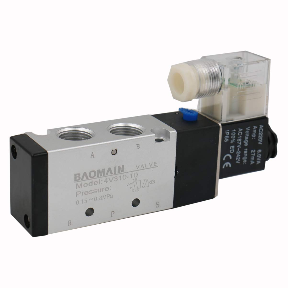 Baomain DC 24V 2 Port 2 Way 3//4PT Female Thread Pneumatic Electric Solenoid Valve