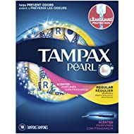 Tampax Pearl Regular Plastic Tampons, Scented, 18 Count
