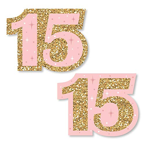 Big Dot of Happiness Mis Quince Anos - DIY Shaped Quinceanera Sweet 15 Birthday Party Cut-Outs - 24 Count]()