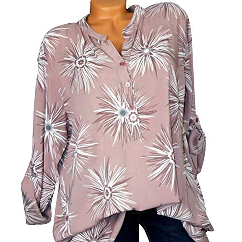 Clearance Sale ! Button Down Shirt Women Stand Collar Printed Long Sleeves Plus Size Tops Shirt Blouse -