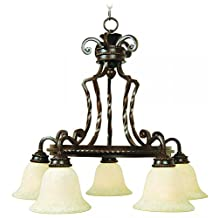 Jeremiah 8129AG5 Riata 5 Light Chandelier Textured with Antique Scavo Glass, Aged Bronze