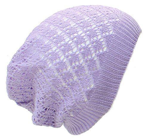 - an- Fashion Lightweight Slouchy Cutout Beanie Hat Cap, Many Styles (Lavender Diamond)