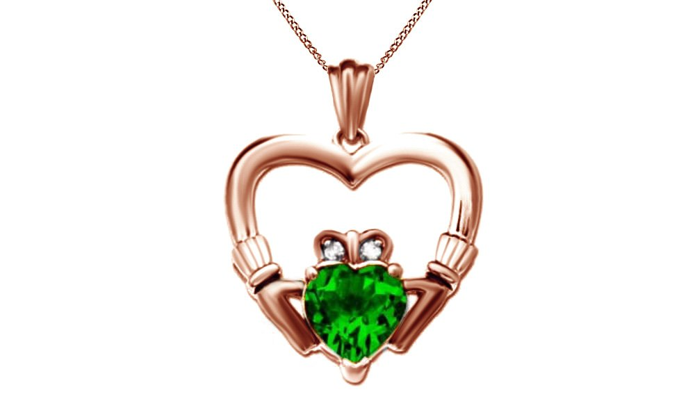 Simulated Green Emerald & Natural Diamond Claddagh Heart Pendant Necklace 925 Sterling Silver