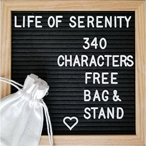 """Discount Black Letter Board, Felt, Changeable, 340 White Letters, Characters, and Symbols, Includes Bonus Stand and Storage Bag, 10x10"""" Premium Oak, Wall Mounting Hook Included"""