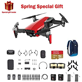 ba2b43c75ee DJI Mavic Air Fly More Combo, Flame Red Portable Quadcopter Drone with 32G  SD Card and More