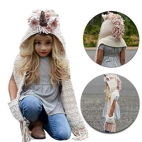 MiniGreen Bonnet Hiver Bonnet de Laine 3D Motif de Licorne Chapeaux  Casquette Tricot Capuche Cagoule Cache 808fb7fa963