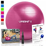 Exercise Ball (Multiple Sizes) for Fitness, Stability, Balance & Yoga - Workout Guide & Quick Pump Included - Anit Burst Professional Quality Design (Pink, 45CM)