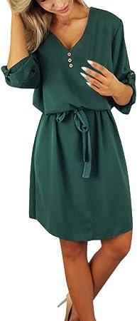 Vestidos Mujer Casual Verano 2019 Vestido de la Camisa de Las Mujeres Ocasionales Diseño sólido Botones Vestido de Media Manga Sundress Camisa Vestido Camisa Vestido: Amazon.es: Hogar