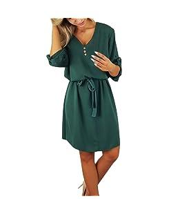 Colouredays Dress for Women Casual Summer Clothing Tunic Long-Sleeved Solid Design Buttons Half Sleeve Belt Skirt Green