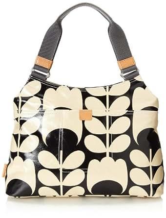 Orla Kiely Laminated Classic Shoulder Bag,Black/Cream,One Size