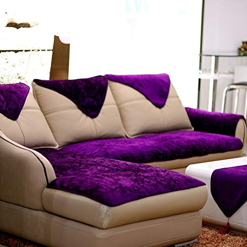 E-Solem Velvet Couch Covers for Cushions, L Shape Sofa Cover, Couch Slipcover Protector, Sofa Slipcover for Dogs, Recliner Cover, Armchair Slipcover (Royal Purple, 28