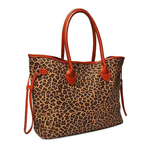 Oversized Women Canvas Casual Tote Bag Leopard Cheetah Print Handbag with Faux Leather Handle (Small ()