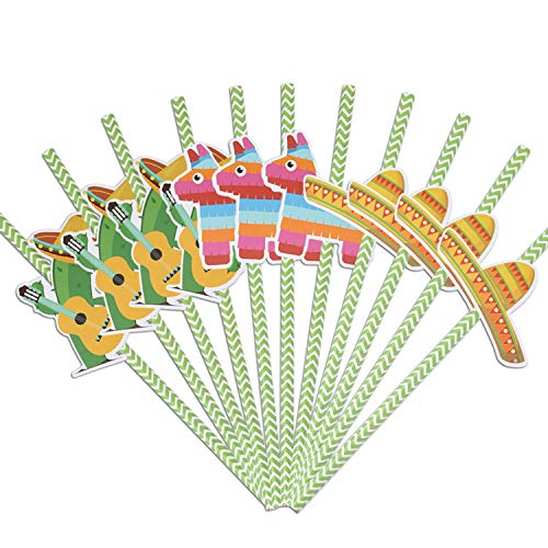 BBTO 36 Pieces Fiesta Paper Straw Decorations Mexican Fiesta Straw Decor Cactus Donkey Sombrero Hat Straw Decorations Striped Decorative Straws Party Supplies