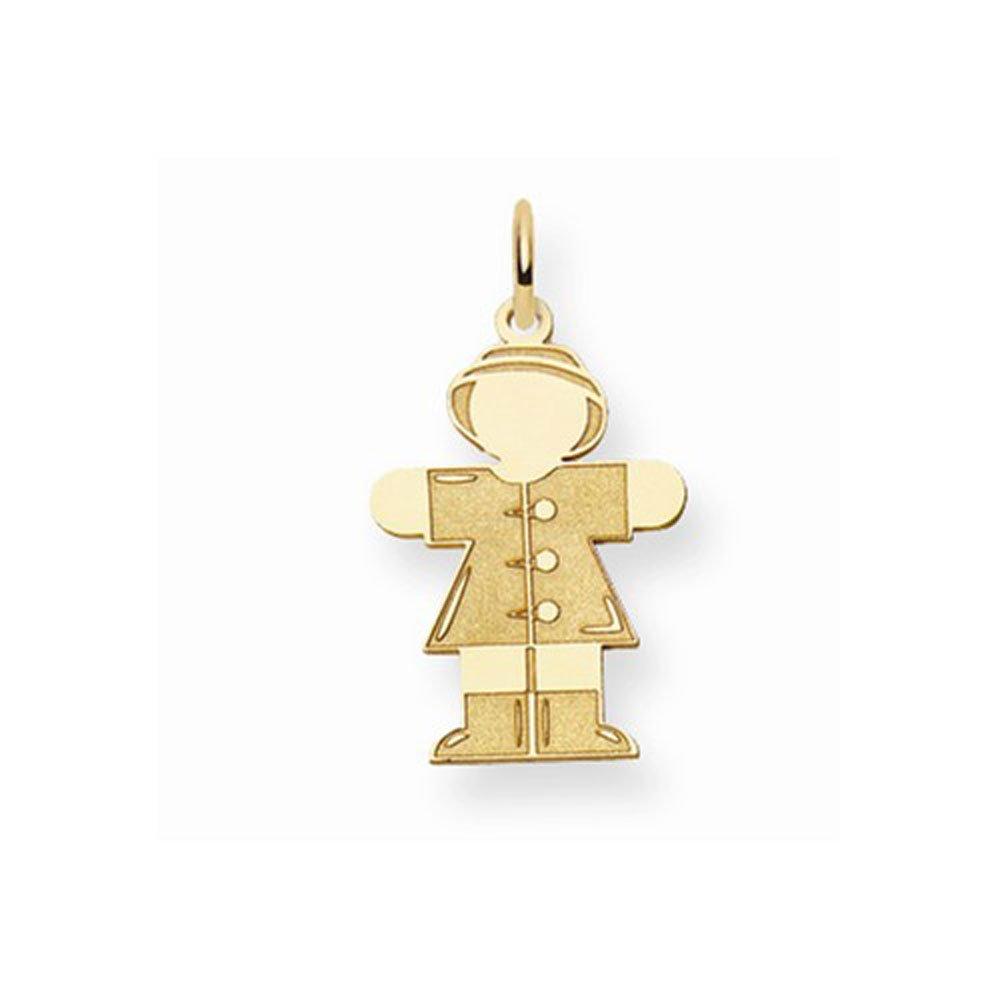 14K Yellow Gold Laser Cut Kid in Coat Charm Pendant