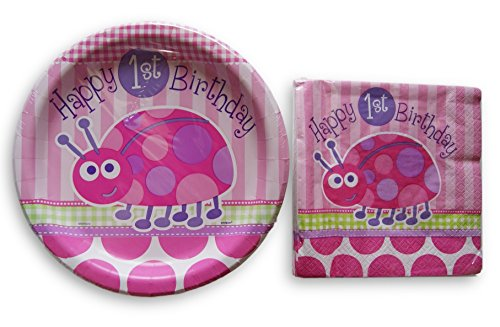 - Baby Girls First Birthday Pink Ladybug Party Supply Kit - Napkins and Plates