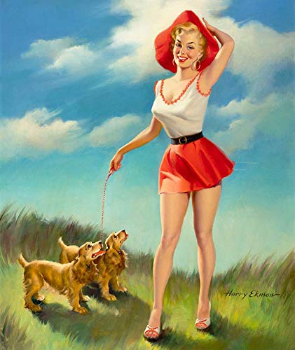 JH Lacrocon Canvas Art Wall Decor Pin-Up with Puppies by Harry Ekman 40X50 cm (Approx. 16X20 inch) Photo - Nudegirl Poster Print Picture ()